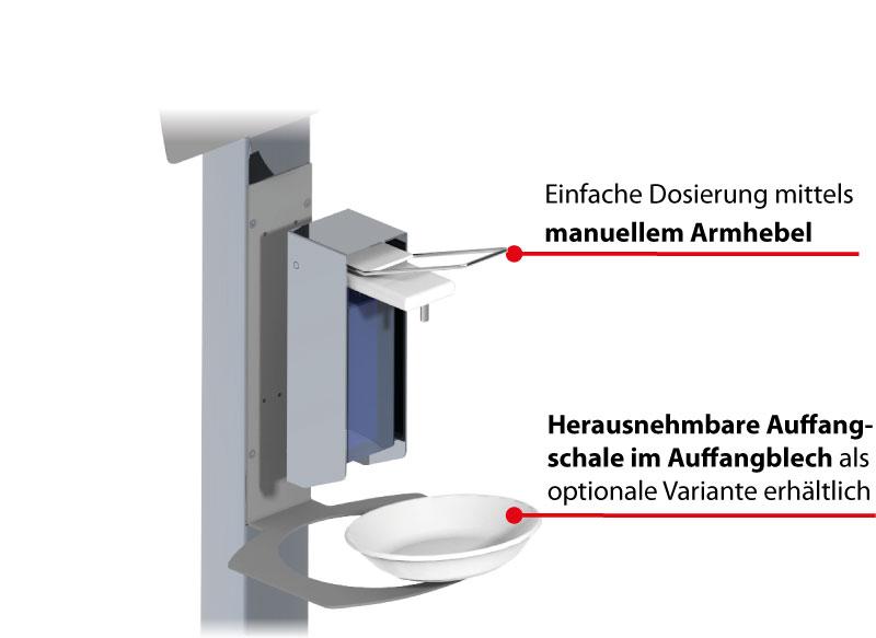 BERNSTEIN Desinfektionssäule - Einfache Dosierung mittels manuellem Armhebel, herausnehmbare Auffangschale als optionale Variante erhältlich