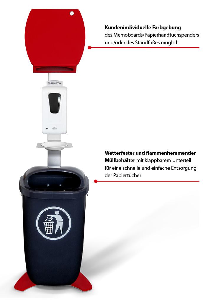 BERNSTEIN Desinfektionssäule – Kundenindividuelle Farbgebung des Memoboards/Papierhandtuchspenders und/oder des Standfußes möglich